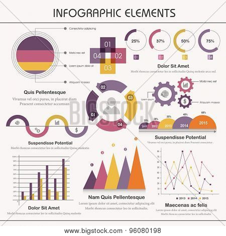 A big set of various statistical business infographic elements on grey background.