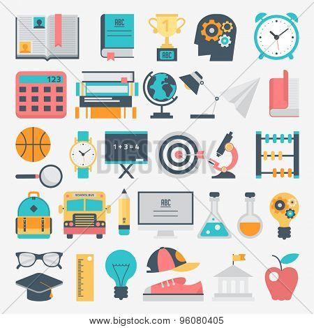 Flat design school and education icon set