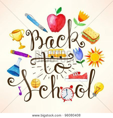 Back to school lettering with watercolor elements