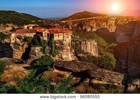 Sunset over Meteora Mountain Monasteries, Greece