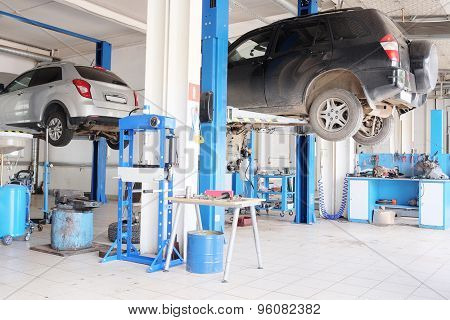 Russia, Kaluga, July, 8, 2015: Interior of a car repair station in Kaluga, Russia