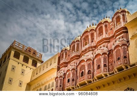 Balconies of the Hawa Mahal, The Palace of Winds, Jaipur, Rajasthan, India