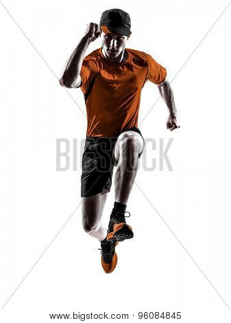 one young man runner jogger running jogging jumping in silhouette isolated on white background