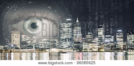 Bird eye view of modern night city with human female eye