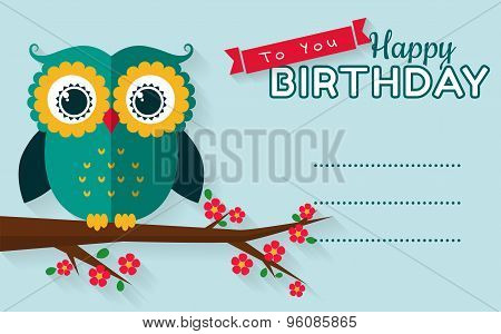 Happy Birthday! Vector Greeting Card.
