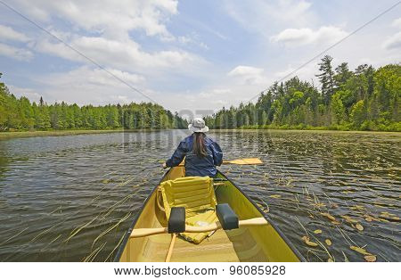Canoer On A North Woods Lake