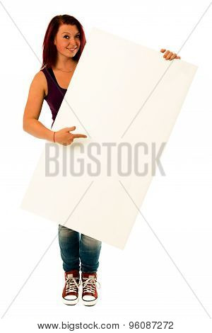 fancy young woman holding a white banner