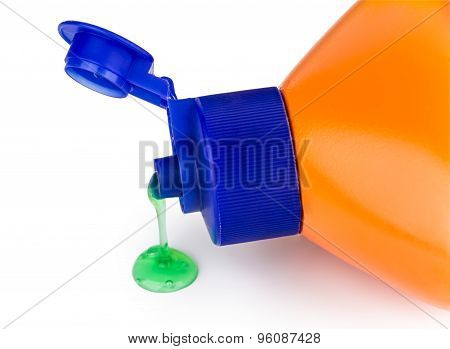 Detergent Bottle Spilled On Surface Of Table