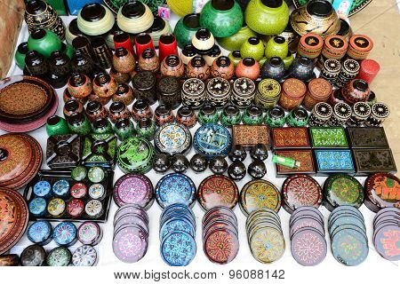 Handicraft made of bamboo are sold in travel places in Myanmar