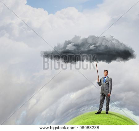 Young businessman caught white cloud with lead