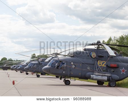 Many Russian Air Force Helicopter At An Airshow In Kubinka