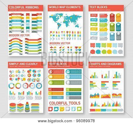 Flat infographic elements set.