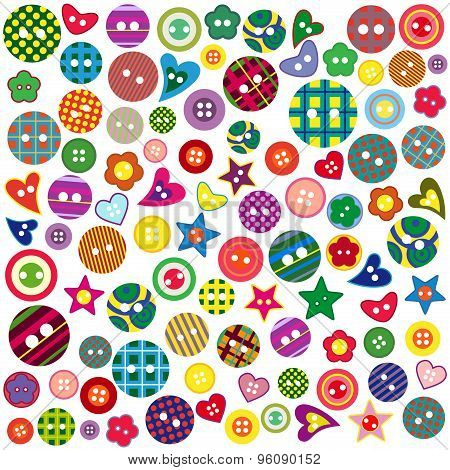Many Colored Ornamental Buttons