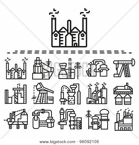 Industrial flat line vector icons set
