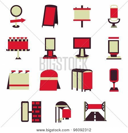 Advertising constructions red flat vector icons