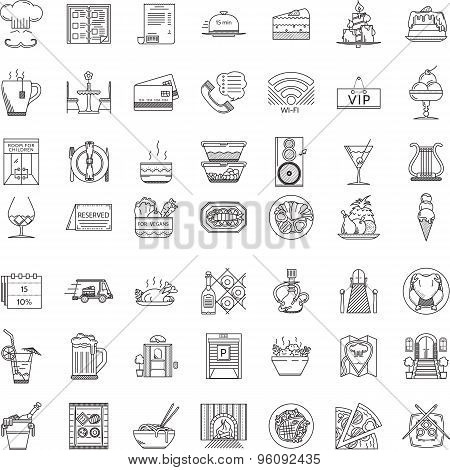 Restaurant flat line icons vector collection