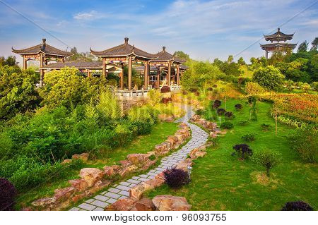 Beautiful ancient temple with blue sky and fog