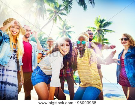Friends Summer Beach Party Dancing Concept
