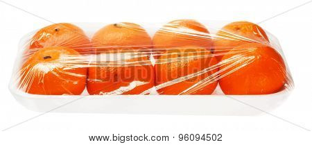 tangerines in vacuum packing on white background, vector