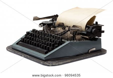 vintage typewriter with paper, vector
