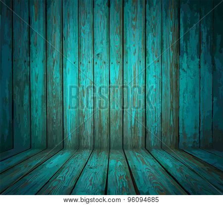 painted old wooden wall. cyan room, vector