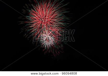Fireworks in black night sky