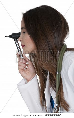 Woman Doctor With An Otoscope