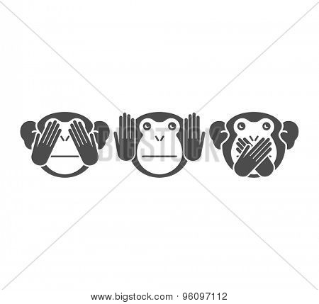 See no Evil, Hear no Evil, Speak no Evil. Vector illustration