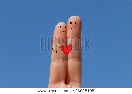 Love Concept, Two Fingers Painted With Sky At Background