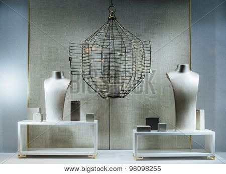 Jewelry Store Show-window With A Dummy Torso, An Empty Cage