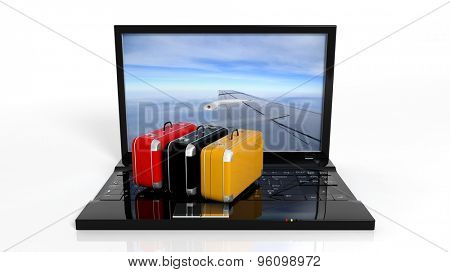 Colorful suitcases on black laptop keyboard with airplane wing on screen