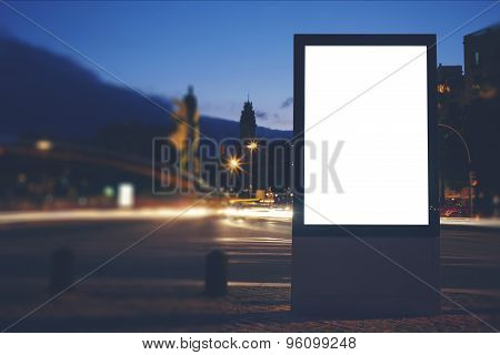 Information board with copy space for your text message or content  in night city