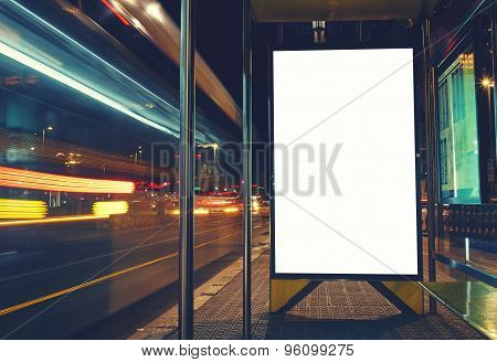 Illuminated blank billboard with copy space for your text message or content advertising