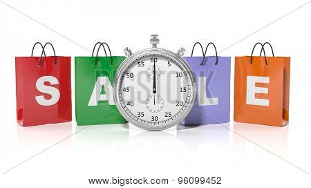 Silver chronometer with shopping bags and Sale, isolated on white