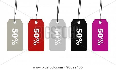 Colorful hanging sales tags with fifty percent discount isolated on white background