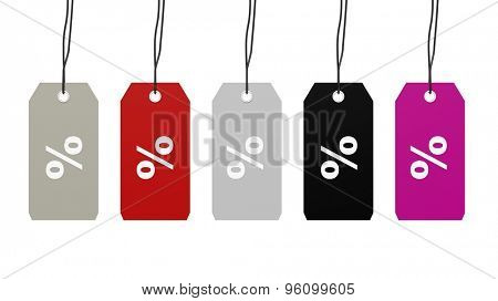 Colorful hanging sales tags with percentage sign discount isolated on white