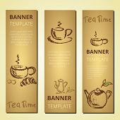 pic of teapot  - Banners with teapot and cup of tea tea time vector - JPG