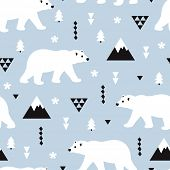 Seamless kids polar bear and geometric mountain arctic winter christmas wonderland illustration patt