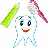 image of toothpaste  - Green tube of toothpaste with toothbrush in a yellow cup - JPG