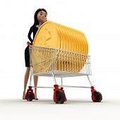 stock photo of angle  - 3d woman draw cart with golden coin of dollar concept on white backgroundlow angle angle view - JPG