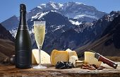 image of aconcagua  - champagne with delicious cheeses - JPG