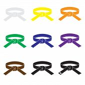 stock photo of karate  - karate martial arts color belts icons set eps10 - JPG