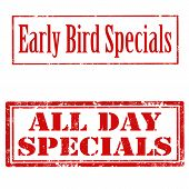 foto of special day  - Set of grunge rubber stamps with text Early Bird Specials and All Day Specials - JPG