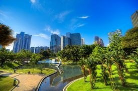 stock photo of petronas twin towers  - KLCC park near Petronas towers in Kuala Lumpur - JPG