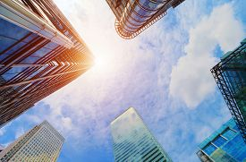 stock photo of high-rise  - Common modern business skyscrapers - JPG