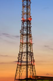 picture of antenna  - Telecommunication Antenna Silhouette at dusk - JPG