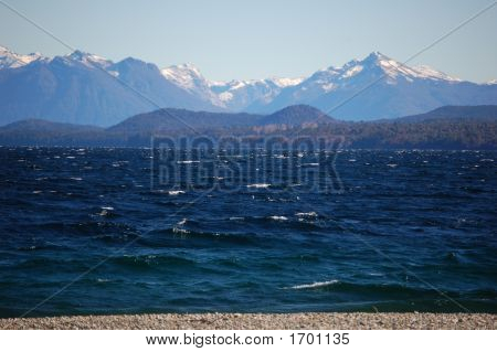 Mountain Range In Patagonia Across Nahuel Huapi