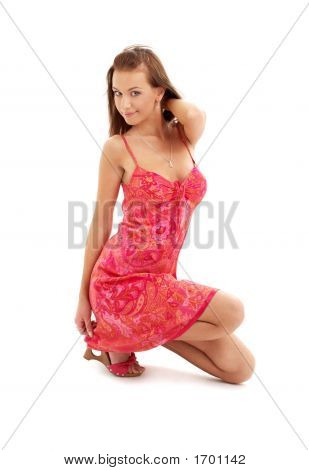 Kneeled Lady In Red Dress