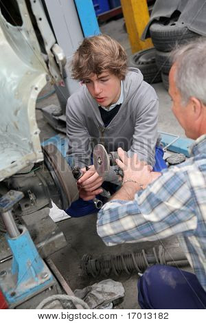Teenager in professional training in workshop