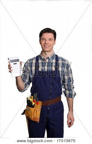 Carpenter standing on white background with calculator